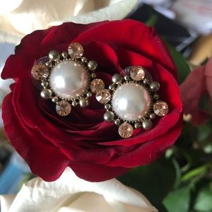 Pearl and blush gem stud statement earrings
